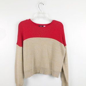 URBAN OUTFITTERS Knit Red Tan Colorblock Sweater